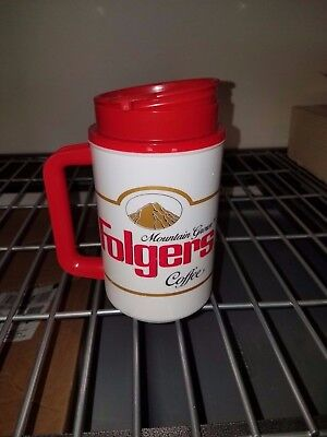 VINTAGE! 1990's Folgers Mountain Grown Coffee Insulated Mug and Holder - NOS
