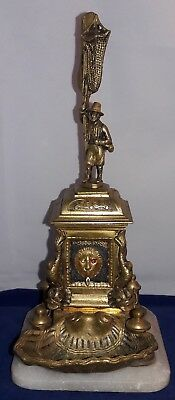 French Grand Tour Bronze Figural Inkwell fisherman standing on ornate fountain