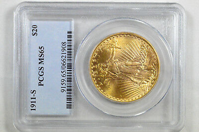 1911-S Saint Gaudens $20 Double Eagle Pcgs Ms-65