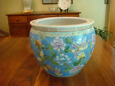"Ex Large Vintage Asian Porcelain Fish Bowl Planter 13"" Tall 14"" Wide ESTATE FIND"