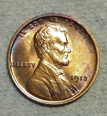 Brilliant Uncirculated 1913-P Lincoln Cent! Stunning specimen with tons of red!