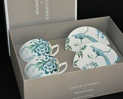 Wedgwood Jasper Conran Chinoiserie White ~ Pair Of Tea Cups & Saucers Boxed 1st