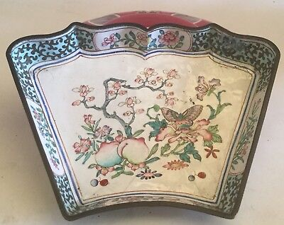 #18c VTG Q Dynasty STATE FIND  Bronze Chinese Tray Gilted Painting ANTIQUE Rare