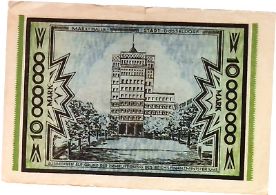 1923 Germany DUSSELDORF 10.000.000 / 10 Million Mark Banknote