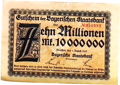1923 Germany BAYERN 10.000.000 / 10 Million Mark Banknote