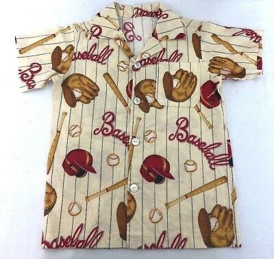[M16] Baseball Print Dress Hawaiian Button Shirt Boy's 8? No Tag EUC