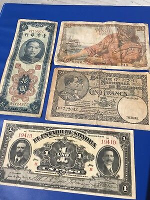 Collection Of 4 Foreign, Antique, Currency Notes Circulated