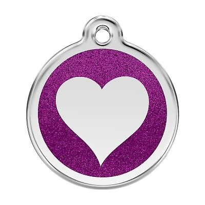 Red Dingo, Pet, Dog, Cat, I.D. Tag, W/ Personalized Engraved~Glitter HEART