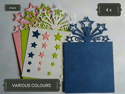 Shooting Stars Paper Die Cuts x4 Scrapbooking Card Topper Embellishment