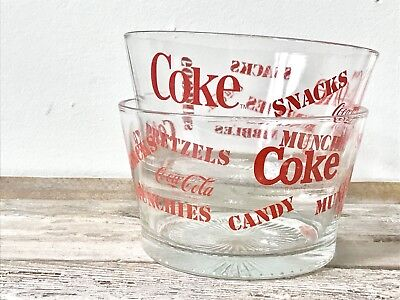 Vintage Glass Coca Cola Snack Bowls, Vintage Coca Cola collectible, Coca Cola