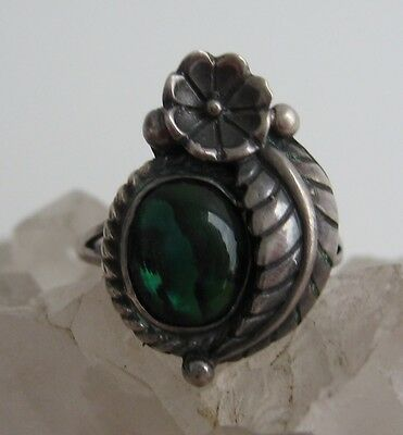 Vintage Paua Shell Sterling Ring 925 Silver Signed STC Skyway Trading Co