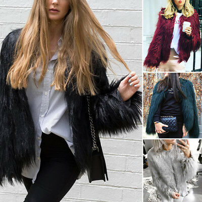 Warm Women's Winter  Faux Fur Open Front Short Jacket Softs Fluffy Coat Clothing