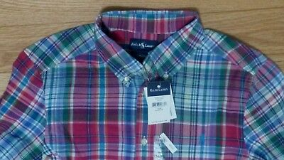 Ralph Lauren Boys PLAID Button-Down Shirt POLO PONY L 14/16 NWT