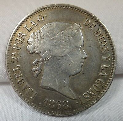 1868 Spanish - Philippine Issue, ISABELA II 50 Centimos De Peso Silver Coin, AU