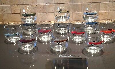 Lot x 13 Vintage 60s Ford Classic Car Collectible Drinking Glasses 6 oz RARE