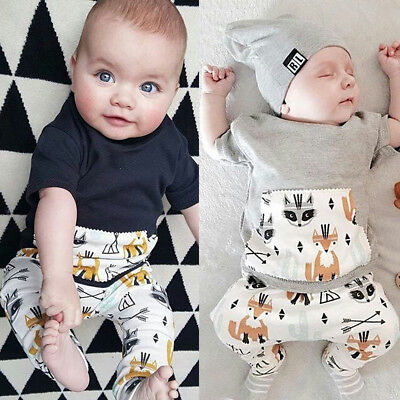 Newborn Kids Baby Boy Outfit Sets Shirt T-shirt Tops+Long Pants Clothes AU STOCK