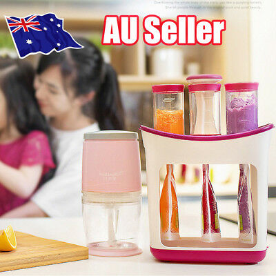 Baby Feeding Food Squeeze Station Toddler Infant Fruit Maker Dispenser Storage p