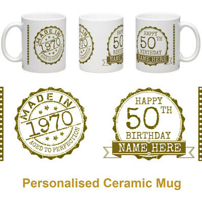 50th Birthday 1969 Personalised Ceramic Celebration Mug MADE IN 1969 - Gold Gift