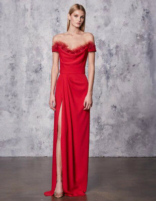 6a2fca7075 NWT MARCHESA NOTTE Red Off the Shoulder Crepe High Slit Gown ...