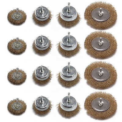 """12 Assorted drill wire wheels, wire brush attachments for drills 1/4"""" shank"""