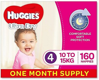 Huggies Ultra Dry Nappies, Girls, Size 4 Toddler (10-15kg), 160 Count, Supply