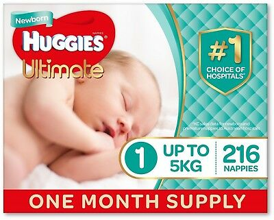 Huggies Ultimate Nappies, Unisex, Size 1 Newborn (Up To 5kg) 216 Count, Supply