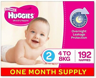 Huggies Ultra Dry Nappies, Girls, Size 2 Infant (4-8kg), 192 Count, One-Month