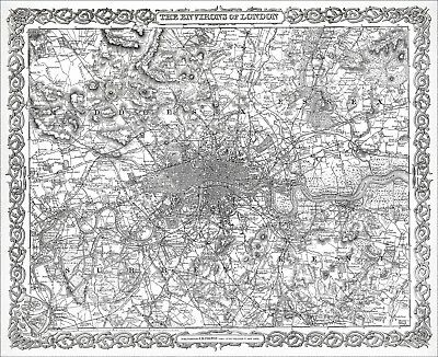 Environs of London 1855, reproduction old map Colton & Co - 59.4 x 48.47 cm