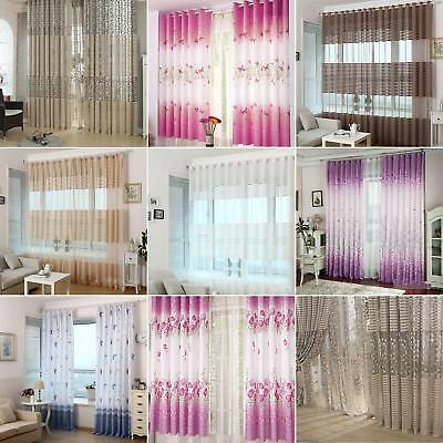 Tree Pattern Through the Rod Jacquard Window Curtain Bedroom Home Decor Clever