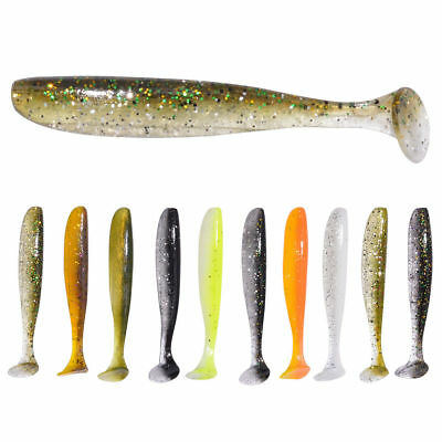 10 Pcs Simulation Soft Silicone T Tail Fish Lures Baits Lure Crank Bait Tackle