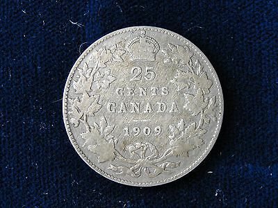 1909 Canada .925 Silver Quarter Better Date Coin King Edward Head
