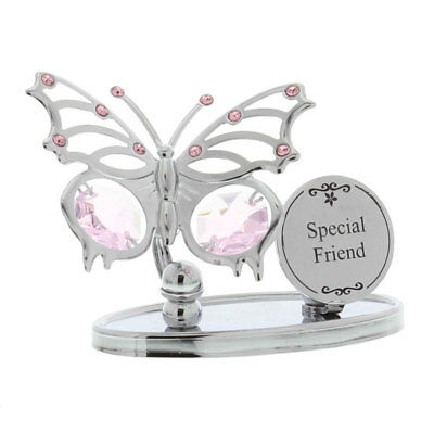 Ladies Gift Special Friend Butterfly Plaque Sign Boxed Swarovski Element Present