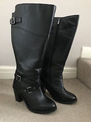 Evans Black Leather Knee High Boots Size 8