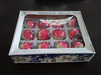 Vintage Old World Hand Made in Europe Christmas Ornament Balls ~ in Original Box