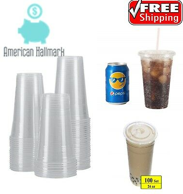 100 Sets Plastic Crystal Clear Cups Flat Lids Cold Drinks 24 oz Iced Coffee Cup