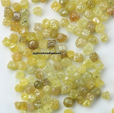 5.05 ct Lot 1.0-2.0 MM Size Rare Natural Loose Yellow Color Round Rough Diamond