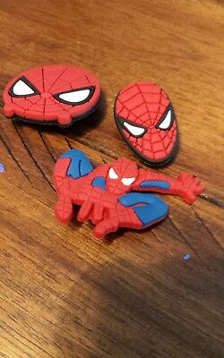 Lot of 3 Spiderman charms for Crocs clog shoes or wristband bracelet. New.