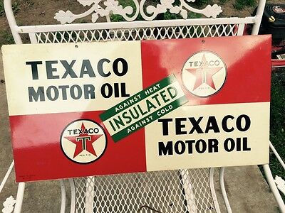 NOS  Rare 1940s Texaco Motor Oil Double Sided Tin Insulated Service Station Sign