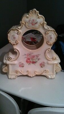 BEAUTIFULL Floral and Gilt Ceramic Clock Case Circa 1920s clock dial 12cm circum