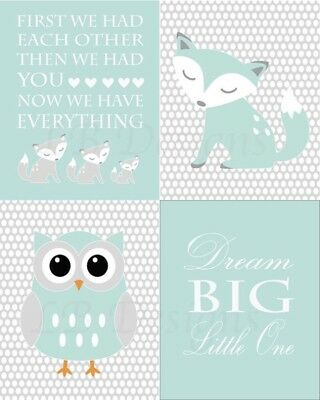 Gender Neutral Woodland Nursery Prints Fox Nursery Art Owl