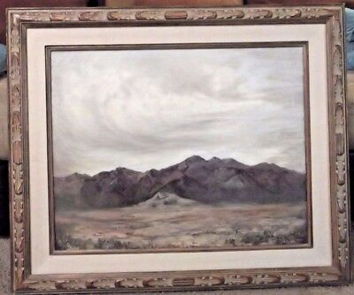 VINTAGE LARGE SIGNED MOUNTAINSCAPE LANDSCAPE OIL ON CANVAS 36x30 MOBERLY ?