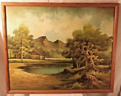 Artist Signed Oil On Canvas Remote Waterfront Cottage In Forest 32 X 26