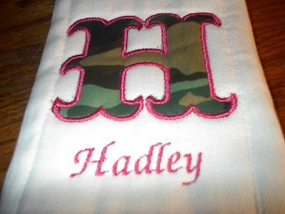 Personalized Girl Pink Camoflauge Burp Cloth Diaper