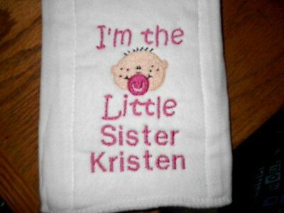 Personalized I'm The Little Sister Baby Burp Cloth Diaper