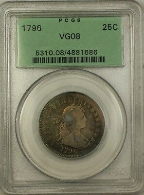 1796 One Year Type Coin Draped Bust Small Eagle Quarter 25c OGH PCGS VG-8 CL