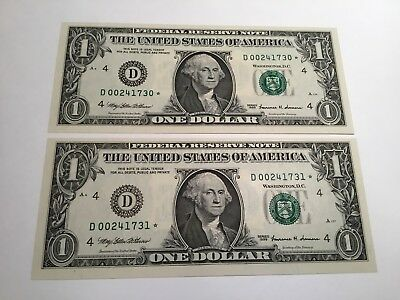 VINTAGE lot 2 UNCIRCULATED $1 1999 CLEVELAND STAR NOTE GREEN SEAL ONE DOLLAR UNC