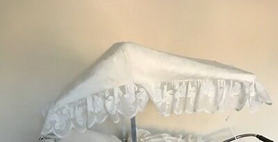 Pram Canopy to fit Silver Cross and coach built prams in Ivory Teddy lace