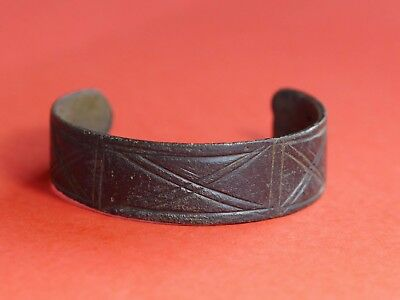 Ancient Viking Bronze Cuff Bracelet with Geometric Shaped Ornaments 1798H