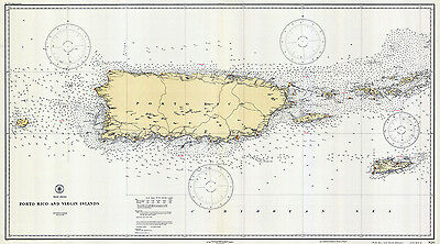 1931 Nautical Map of Porto Rico and Virgin Islands
