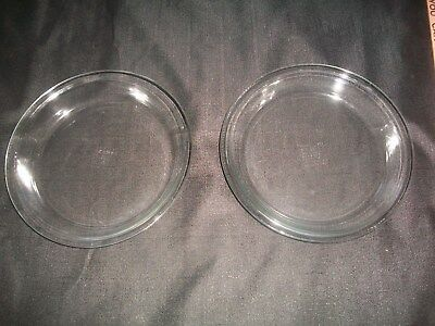 LOT OF TWO VTG Pyrex Pie Plates~Clear Glass ~ 9 Inch #209 ~ Flat Edges